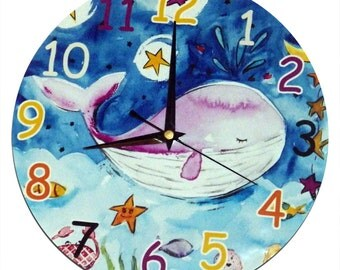 Whale Clock - Childrens Clock / Boys Wall Clock / Nursery Decor