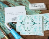 Business Cards / Blogger Cards / Tiled Marble Aqua and Green Calling Cards / - Set (50) / Watercolor / Painted / Brushstroke