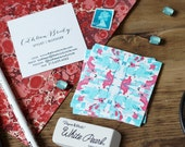 Tiled Marble Red and Aqua Calling Cards / Business Cards/ Blogger Cards - Set (50) / Watercolor / Painted / Brushstroke