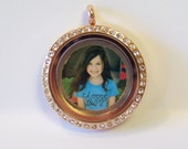 Double Sided Locket Plate w/ Custom Photo & Custom Quote, will fit any brand of floating locket necklaces