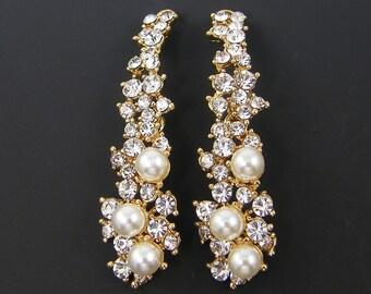Bridal Pearl Earring Findings Long Clear Rhinestone Cascading Gold Drop Wedding Jewelry Supply  G4-4 2