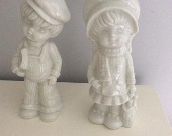 Vintage White Ceramic Strawberry Shortcake Statues