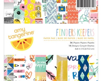 "Amy Tan Finders Keepers Paper Pad 6x6 • American Crafts Paper Pad 6""X6"" 36/Pkg (340231)"
