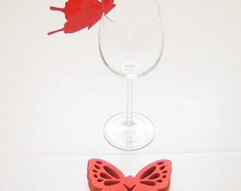Wine Glass Butterfly Place Card Dark Orange Wedding Shower Anniversary Birthday  (50)