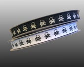 """65% OFF-- 3/8"""" FULL ROLL of Skull Print Grosgrain Ribbon--25 yards--Ready to Ship--Limited Quantity Available"""
