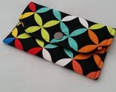 Black Bold Petals Fabric Wallet Snap Case 1/2 off SALE