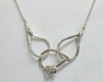 Mama Metal Petal Necklace, 3 Fine Silver Petals,  Baby Friendly Necklace, Nursing, Breastfeeding Necklace, Links by Maggie McMane Designs