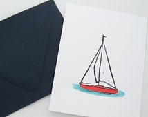 Sailboat Stationery Nautical Watercolor Cards Original Hand Painted Stationery Boat Watercolor Beach Cards
