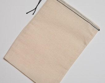 400 6x8 Black Hem Cotton Muslin Black Drawstring Bags