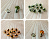 9mm Cat Eyes - Your Choice of Color - Orange or Green - 6 pairs Craft Safety Eyes