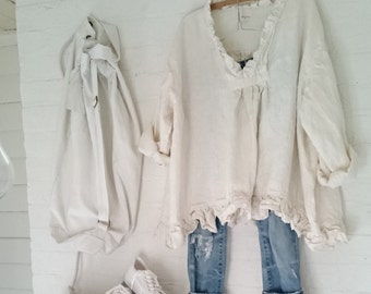 Cream European Linen Oversized Top