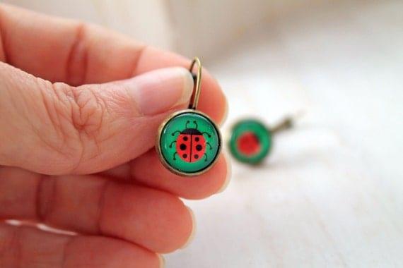 Ladybug leverback earrings sweet lolita feminine  insect bug red green nature