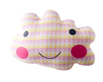 Geometric pink cloud decorative cushion