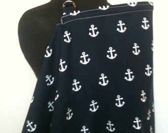Nursing Cover- Navy Anchors