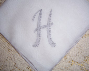 Vintage Hanky with a Gray Initial H Hankie Handkerchief with Hand Embroidery