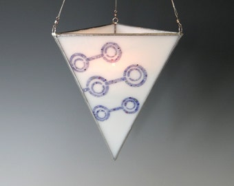 Purple Modern Fused Glass Lantern Stained Glass Hanging Candle Holder Triangle White Circles
