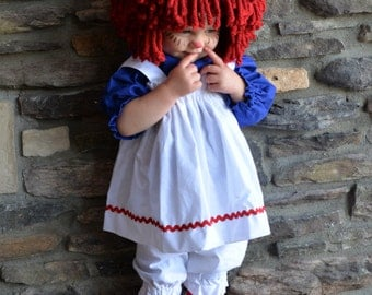 Raggedy Ann Toodler Baby  with wig and socks
