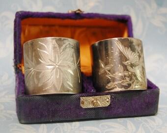 Antique Victorian Napkin Ring Flower and Bird Silver Plate Gothic Set Original Purple Velvet Box 1900s