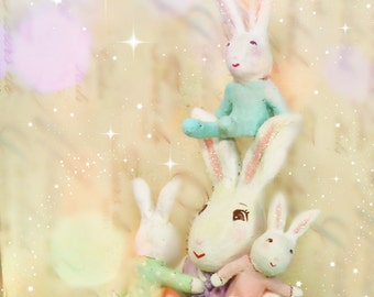 Easter centerpiece Mommy bunny with baby bunnies clay rabbit sculpture baby shower decor easter bunny triplets spring decor