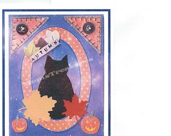 Blank 4 x 6 Handmade Fall Autumn Note Card Black Cat  Fall - No. 114