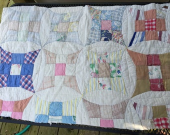 Vintage Hand Stitched Improved Nine Patch Cutter Quilt Piece