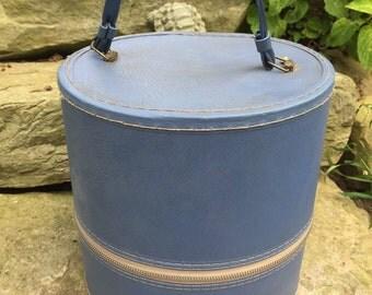Retro Vintage 1960s Era BlueWIg Box Small Suitcase