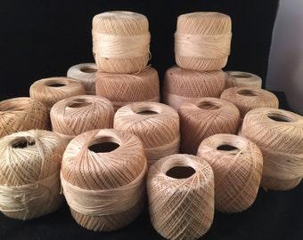 Vintage Lot of Off White Creamy White Sepia Tan Beige Spools of Thread String 17 Skeins