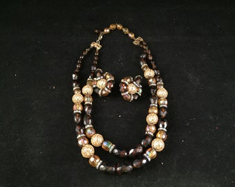Vintage 1960s Era Brown/Amber and Goldtone Bead Double Strand Necklace and Matching Clip On Earrings