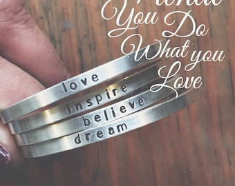 Say What You Want To Say ---The price is for ONE - up to 20 lowercase letters - -Say Anything On YOUR cuff---Custom  personalized jewelry B
