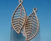 Matte Silver Rhodium Open Leaf Charm, 2 Pieces, AS347