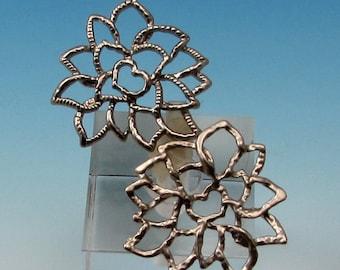 Matte Silver Rhodium Lotus Pendant, 2 Pieces, AS353