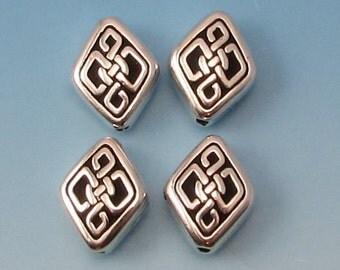 TierraCast Long Celtic Diamond Bead, Antique Silver 4 Pc. TS117