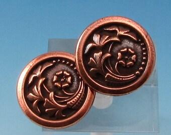 TierraCast Flower Button, Antique Copper 2-Pc. TC84