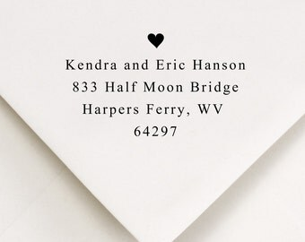 Custom Rubber Stamp -  return address - Kendra and Eric Heart Design