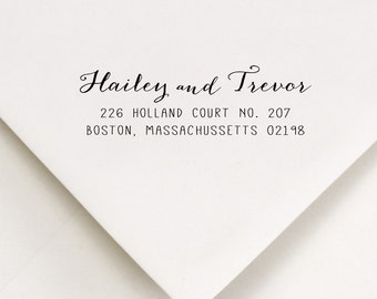 Self Inking Address Stamp, Address Stamp, Cute Calligraphy Style, Newlywed Gift, Wedding Stamp, Hailey and Trevor Design