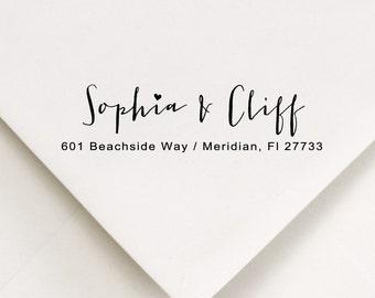 Custom Return Address Stamp -  - calligraphy style, heart - Sweet gift -Sophia & Cliff Design