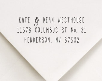Return Address Stamp - Skinny Typography With Cute Ampersand Sign - Kate and Dean Design