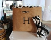 Not Your Usual Wine Bag or Wine Tote Handmade Chevron/Zig Zag lining Two Bottle Bag