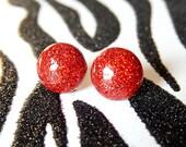 Ruby Red Earrings, Resin Studs, Glitter Round Sparkle Earrings