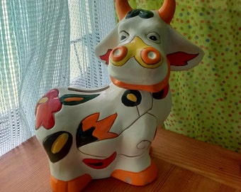 Vintage Kitsch Chalkware Cow Bank
