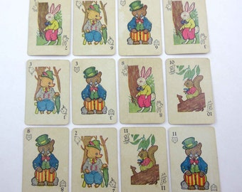 Vintage Miniature Animal Rummy Children's Playing Cards Set of 12