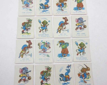 Miniature Vintage Animal Snap Playing Cards for Children Set of 16