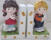 vintage  bookends, children books Gental treasures,Boy with dog and Girl with cat Book Ends Vintage 1977