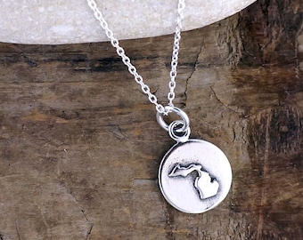 Tiny Michigan Necklace - Silver Michigan Charm - State of Michigan Jewelry LOC43