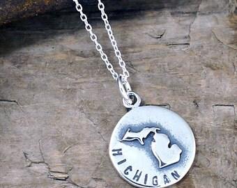 Michigan Necklace - Silver Michigan Charm - State of Michigan Jewelry #LOC-45