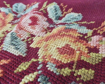 Antique Needlepoint Pillow Top Panel or Ottoman Top Piece Sewing Ephemera Burgundy Red Floral Needlepoint Textile Cottage Chic Decor