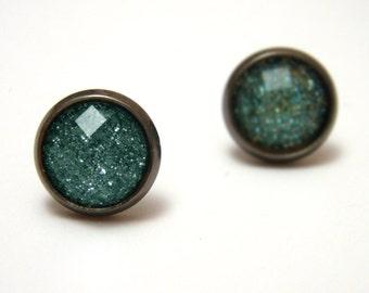 Teal Glitter Studs - Super sparkly bright turquoise aqua blue glitter rhinestones on gunmetal post earrings