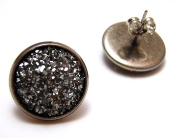 Gunmetal Druzy Studs - Faux acrylic dark silver metallic crystal druzy post earrings - Large 14mm
