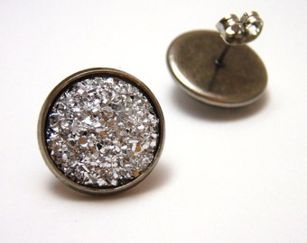 Silver Druzy Studs - Faux acrylic bright silver metallic crystal druzy post earrings - Large 14mm