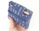 navy womans wallet. small dark blue fabric ladies credit card coin purse billfold. floral tween travel card organizer